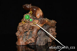 China old Cupronickel Inlaid jade Painted in gold and painted in color Hairpin