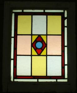 """VICTORIAN ENGLISH LEADED STAINED GLASS WINDOW Very Colorful 17.75"""" x 22.25"""""""