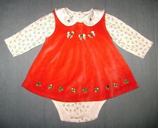 Babyworks Red Velour Christmas Holiday Jumper & Shirt size 3-6 Months