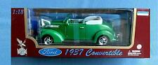 1937 FORD CONVERTIBLE 1:18 DIECAST CAR ROAD LEGENDS GREEN
