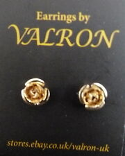 GOLD TONE ROSE BUD STUD EARRINGS IN PRESENTATION BOX  - IDEAL CHILDREN (pm)