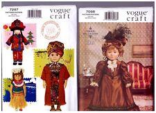 "VOGUE 7098 Historical Dress & 7297 Hawaiian Doll  PATTERNS 18"" American Girl"