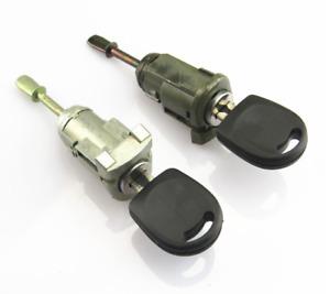 0EM 2Pcs Front L+R Door Lock Cylinder Key Kit For VW Passat B5 Seat Leon Toledo