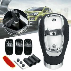 5/6 Speed 3 Cap Black PU Leather Manual Car Gear Shift Lever Shifter Stick Knob