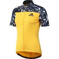 adidas Women's Cycling Jersey Trailrace Short Sleeve -Yellow BNWT AI2854
