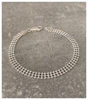 Bracelet triples Rangs Boules Argent Massif 925/000 Bijoux Femme Neuf
