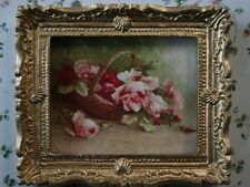 Roses In Basket Picture In Ornate Golden Frame, Miniature Dolls House Picture
