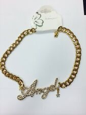 Fashion Gold METAL Hip Hop ANGEL Rhinestone Chunky Chain Necklace