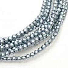 1 Strand 4mm Slate Blue Pearl Glass Pearls 216 Beads