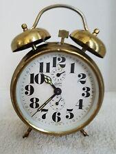 Vintage Linden Black Forest Brass Wind Up Twin Bell German Alarm Clock