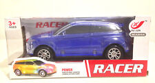 Electric Blue SUV Racer Car Kids Toy Flash Dazzling Lights Sound Music Bump & Go