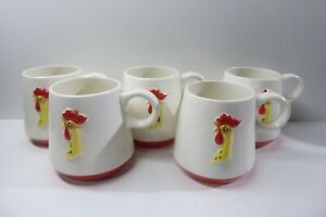 5 COFFEE MUGS CUPS RETRO HOLT HOWARD POTTERY ROOSTER CHICKEN MID CENTURY DESIGN