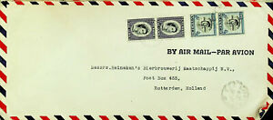 GRENADA 1955 QE II 2 PAIR ON AIRMAIL COVER TO HOLLAND