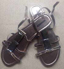 Barratts Metallic Gold Bronze Pewter Strappy Ankle Mirror Trim Flat Sandals 6 39