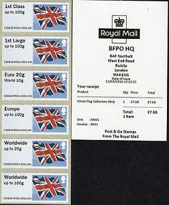 Post & Go M001 2016 HQ BFPO UNION FLAG Collectors Strip NORTHOLT No Overprint