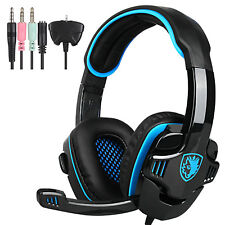 SADES Stereo Gaming Headset Headphones Mic 3.5mm Blue For XBOX ONE/360 PC PS4
