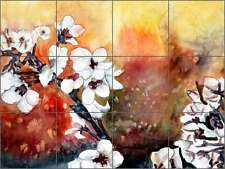 Ceramic Tile Mural Kitchen Backsplash McCrea Dogwood Flowers Floral Art DMA082