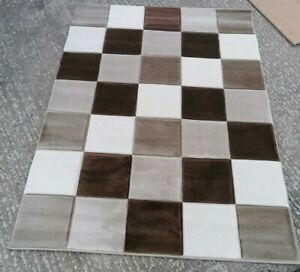 Brown Ivory Geometric Rug Small Large Living Room Rugs Soft Easy Clean Area Rug
