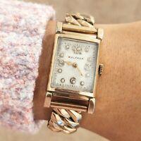 Vintage 1935 WALTHAM Art Deco Watch 7 Jewels U.S.A. Diamond Dial - Runs Clean