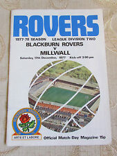 The Official Match Day - Magazine Of Blackburn Rovers & Millwall 1977