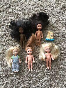 """Lot 5 Vintage 1994 Mattel 4.5"""" Barbie Li'l Friends of Kelly Dolls Marisa Deidre"""