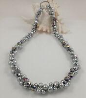 Genuine Grey Baroque Freshwater Pearl & Crystal Necklace & Magic Clasp Shortener