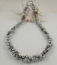 Long Grey Baroque Freshwater Pearl & Crystal Necklace & Magic Clasp Shortener