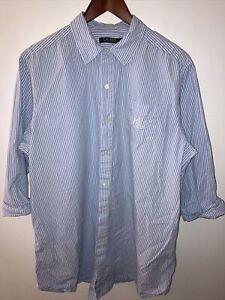 Ralph Lauren Polo Mens XL 3/4 Sleeve Striped Blue Wht Shirt