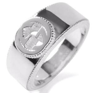Authentic Gucci G ring Logo Ring Silver 925 Size US5.5 JP10 Women's Men's m70