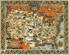 Pictorial Map Highways and byways of Girl Scouting Scouts Wall Art Poster Print