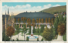 Linen Postcard B014 Great Mormon Tabernacle Sea Gull Monument SLC UTAH UT 1943