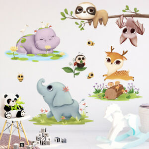 Jungle Animals Wall Sticker Elephant Hippo Bat Decal Baby Nursery Room DIY Gift