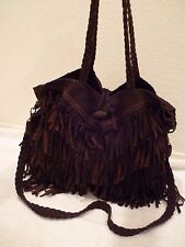 EN SHALLA Free People Brown braided Fringe hobo cross body & handle purse-EUC!