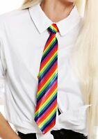 Krawatte Tie regenbogenfarben bunt gestreift Halloween Karneval CSD K810-rainbow