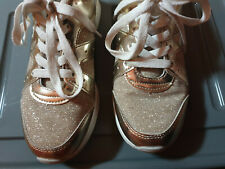Girls Gold Shimmery Shoes Size 2