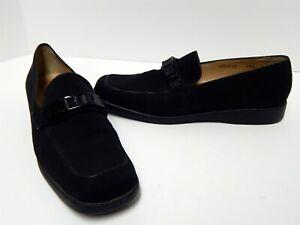 Salvatore Ferragamo Sport Black Nylon Logo Loafers 9.5 AA Italy