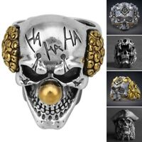 Men's Stainless Steel Cool Gothic Punk Skull Head Boy Biker Finger Ring Jewelry