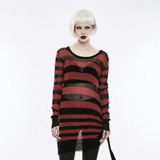 Punk Rave Insanity Striped Sweater Black/Red OPM-074 Punk Gothic Post-Apocalypti