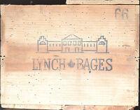 1 CAISSE TRES ANCIENNE VIDE DE 12 BOUTEILLE CHATEAU LYNCH BAGES 1966 estampes