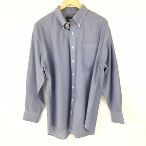 Nautica Button Down Dress Shirt Men 17 1/2 Blue Striped Non-Iron Long Sleeve