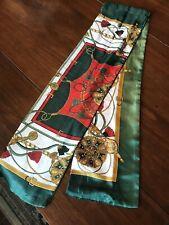Vtg High Quality Designer Red, Green, & White Silk Scarf