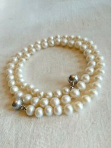 Süßwasserperlen Kette Perlenkette Silberverschluss 925