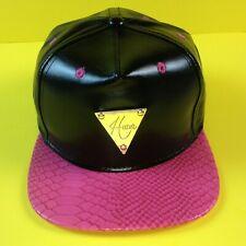 =,HATER Brand,= Black Leather Snapback w Pink Snakeskin Brim. Hat Cap Adjustable