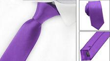 Mens Tie Fashion Solid Plain Colour Satin Formal wedding Casual Necktie