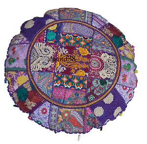 Ottoman Floor Cushion Cover Indian Meditation Patchwork Round Case Pouf Pillow