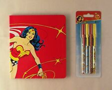 2 Piece Wonder Woman Set with 1 Journal Diary Notebook and 4 Pens