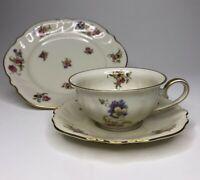 Set of 2 Elfenbein Rosenthal Viktoria Lombul Gold Floral Tea Cup Saucer & Plates