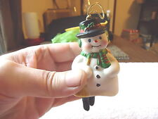 """Vintage Snow Man With Dangling Legs Bell  / Ornament """" BEAUTIFUL COLLECTIBLE ITE"""