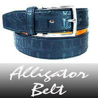 New Leather Black Alligator Belt / Crocodile Belt - L
