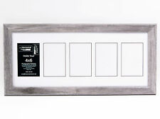 5 Opening 4x6 Glass Face DriftwoodPicture Frame W/ 10x24 White Mat Collage